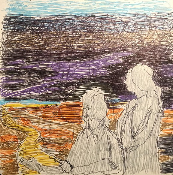a drawing of the offering of spiritual companionship to one another